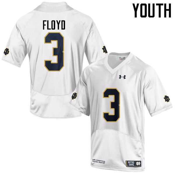 Youth #3 Michael Floyd Notre Dame Fighting Irish College Football Jerseys-White