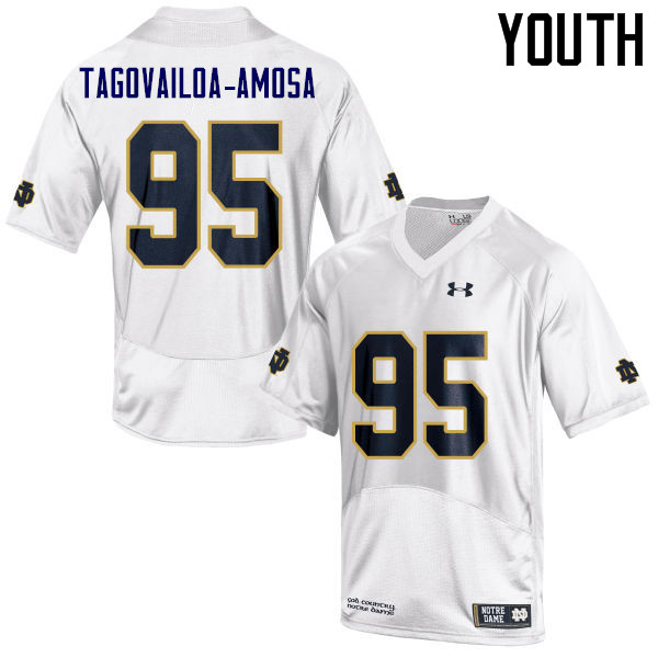 Youth #95 Myron Tagovailoa-Amosa Notre Dame Fighting Irish College Football Jerseys Sale-White