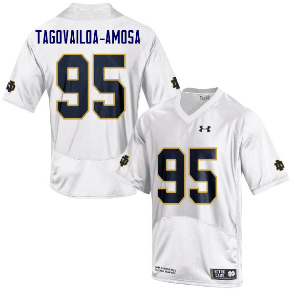 Men #95 Myron Tagovailoa-Amosa Notre Dame Fighting Irish College Football Jerseys Sale-White
