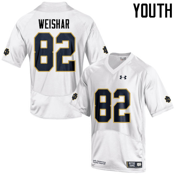 Youth #82 Nic Weishar Notre Dame Fighting Irish College Football Jerseys-White