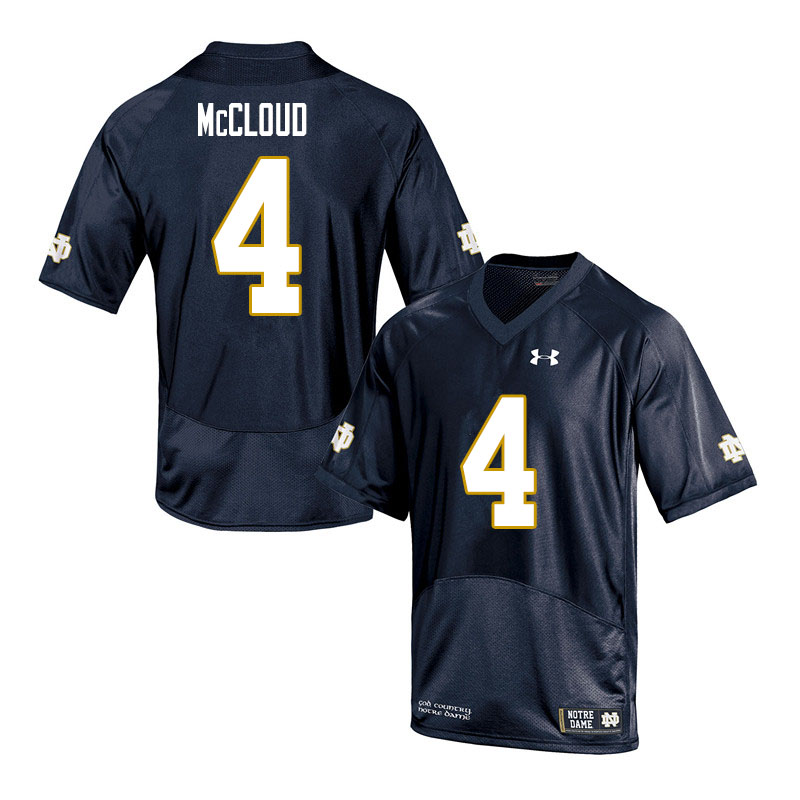 Men #4 Nick McCloud Notre Dame Fighting Irish College Football Jerseys Sale-Navy