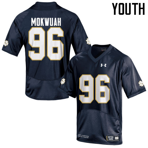 Youth #96 Pete Mokwuah Notre Dame Fighting Irish College Football Jerseys-Navy Blue