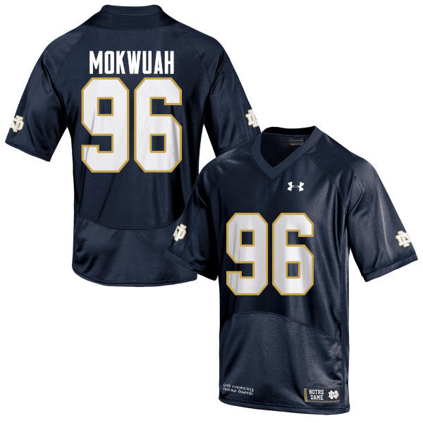 Men #96 Pete Mokwuah Notre Dame Fighting Irish College Football Jerseys-Navy Blue