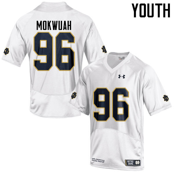 Youth #96 Pete Mokwuah Notre Dame Fighting Irish College Football Jerseys-White