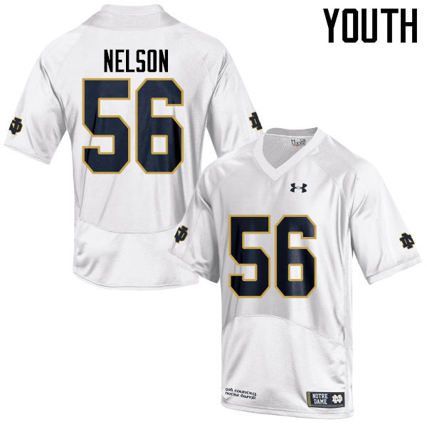 Youth #56 Quenton Nelson Notre Dame Fighting Irish College Football Jerseys-White