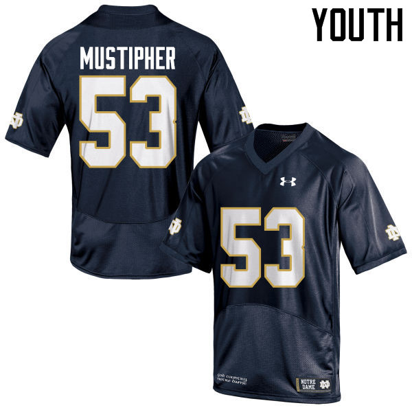 Youth #53 Sam Mustipher Notre Dame Fighting Irish College Football Jerseys-Navy Blue