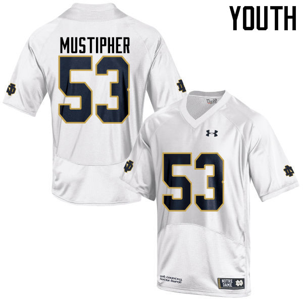 Youth #53 Sam Mustipher Notre Dame Fighting Irish College Football Jerseys-White