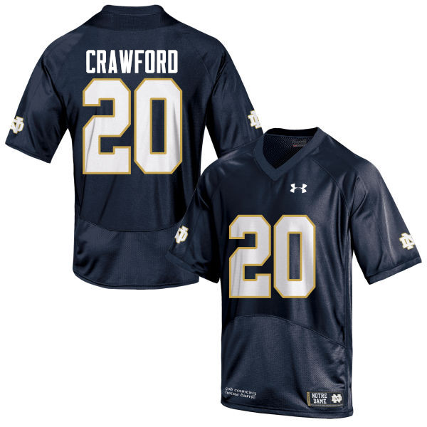 Men #20 Shaun Crawford Notre Dame Fighting Irish College Football Jerseys-Navy Blue