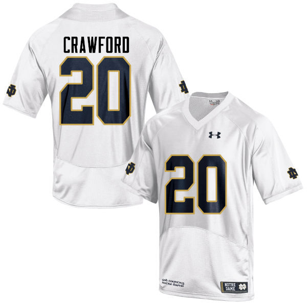 Men #20 Shaun Crawford Notre Dame Fighting Irish College Football Jerseys-White