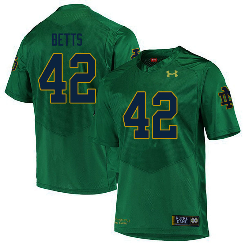 Men #42 Stephen Betts Notre Dame Fighting Irish College Football Jerseys Sale-Green