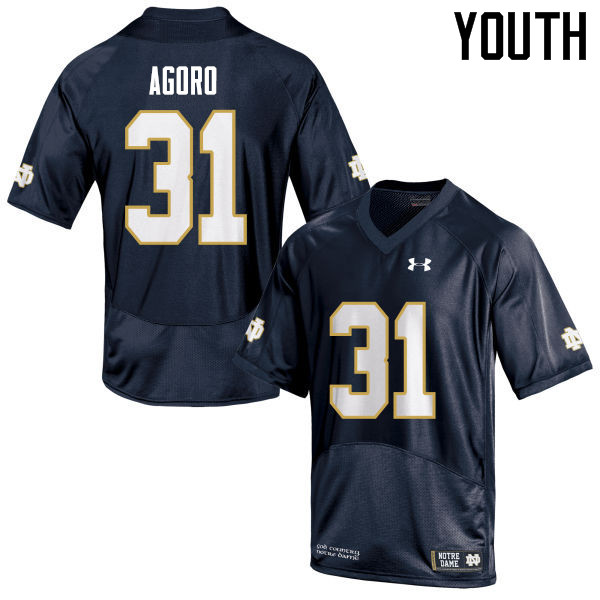 Youth #31 Temitope Agoro Notre Dame Fighting Irish College Football Jerseys Sale-Navy