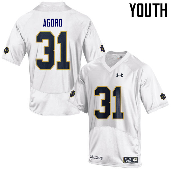 Youth #31 Temitope Agoro Notre Dame Fighting Irish College Football Jerseys Sale-White