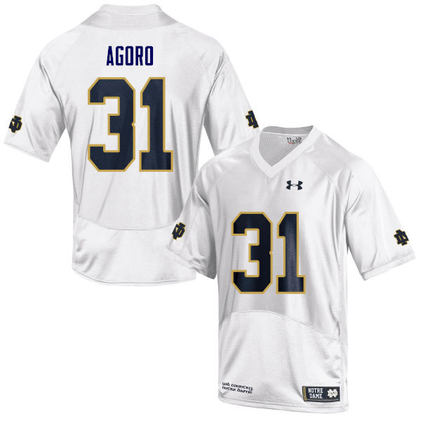 Men #31 Temitope Agoro Notre Dame Fighting Irish College Football Jerseys Sale-White