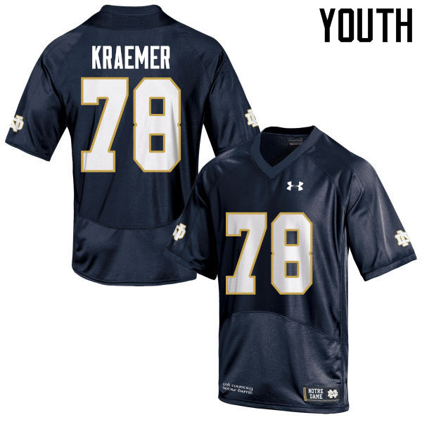 Youth #78 Tommy Kraemer Notre Dame Fighting Irish College Football Jerseys-Navy Blue