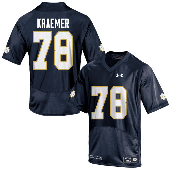 Men #78 Tommy Kraemer Notre Dame Fighting Irish College Football Jerseys-Navy Blue