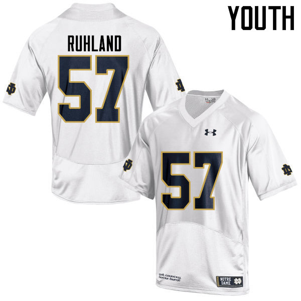 Youth #57 Trevor Ruhland Notre Dame Fighting Irish College Football Jerseys-White