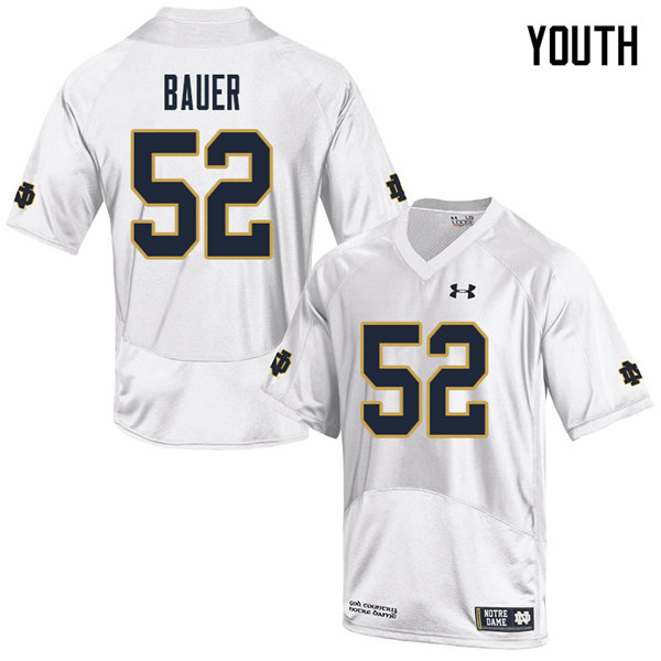 Youth #52 Bo Bauer Notre Dame Fighting Irish College Football Jerseys Sale-White