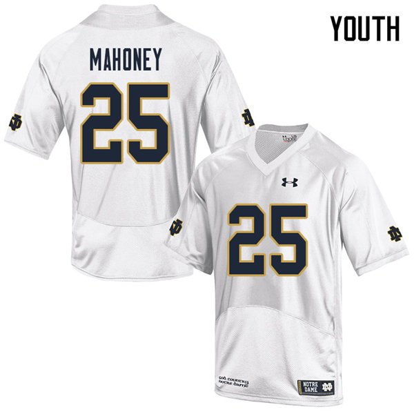 Youth #25 John Mahoney Notre Dame Fighting Irish College Football Jerseys Sale-White