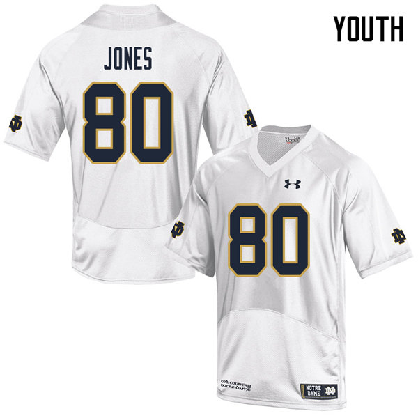 Youth #80 Micah Jones Notre Dame Fighting Irish College Football Jerseys Sale-White