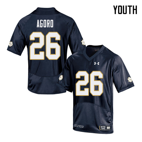Youth #26 Temitope Agoro Notre Dame Fighting Irish College Football Jerseys Sale-Navy
