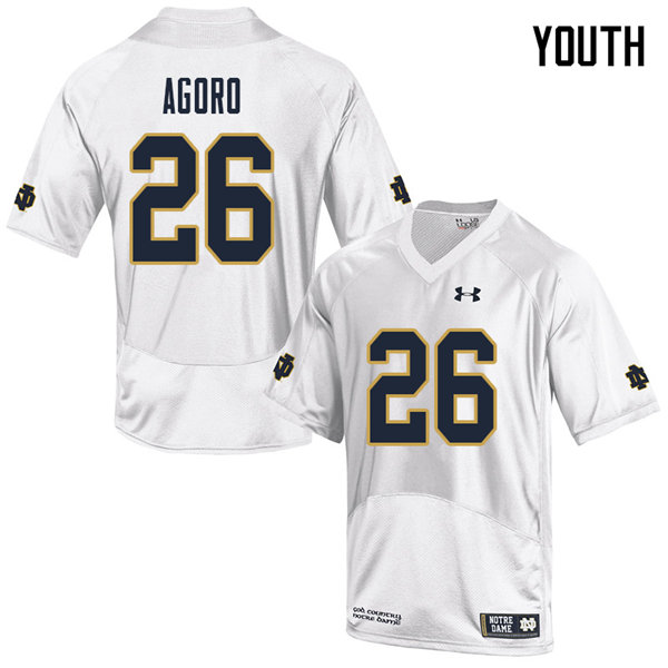 Youth #26 Temitope Agoro Notre Dame Fighting Irish College Football Jerseys Sale-White