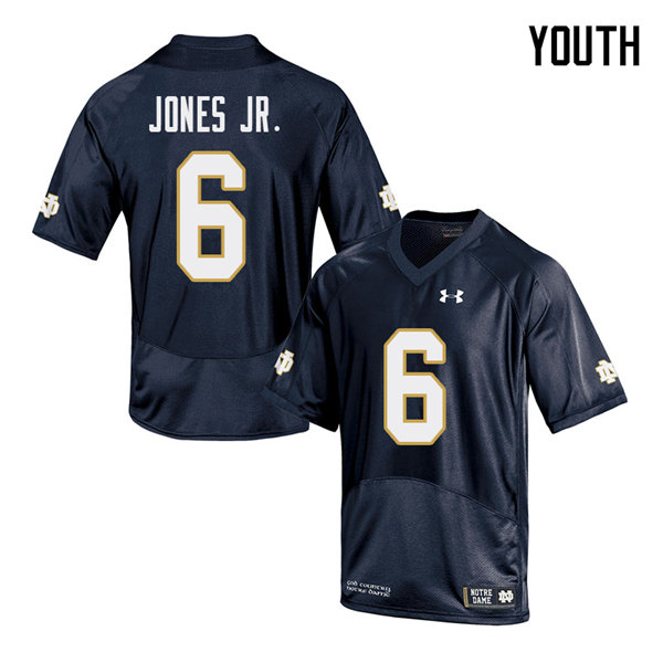 Youth #6 Tony Jones Jr. Notre Dame Fighting Irish College Football Jerseys Sale-Navy