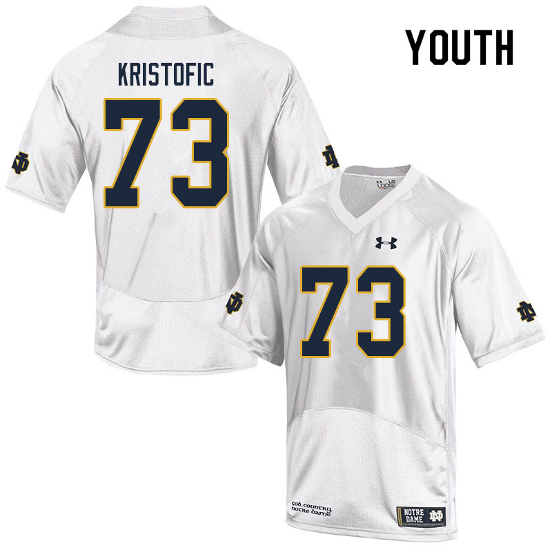 Youth #73 Andrew Kristofic Notre Dame Fighting Irish College Football Jerseys Sale-White