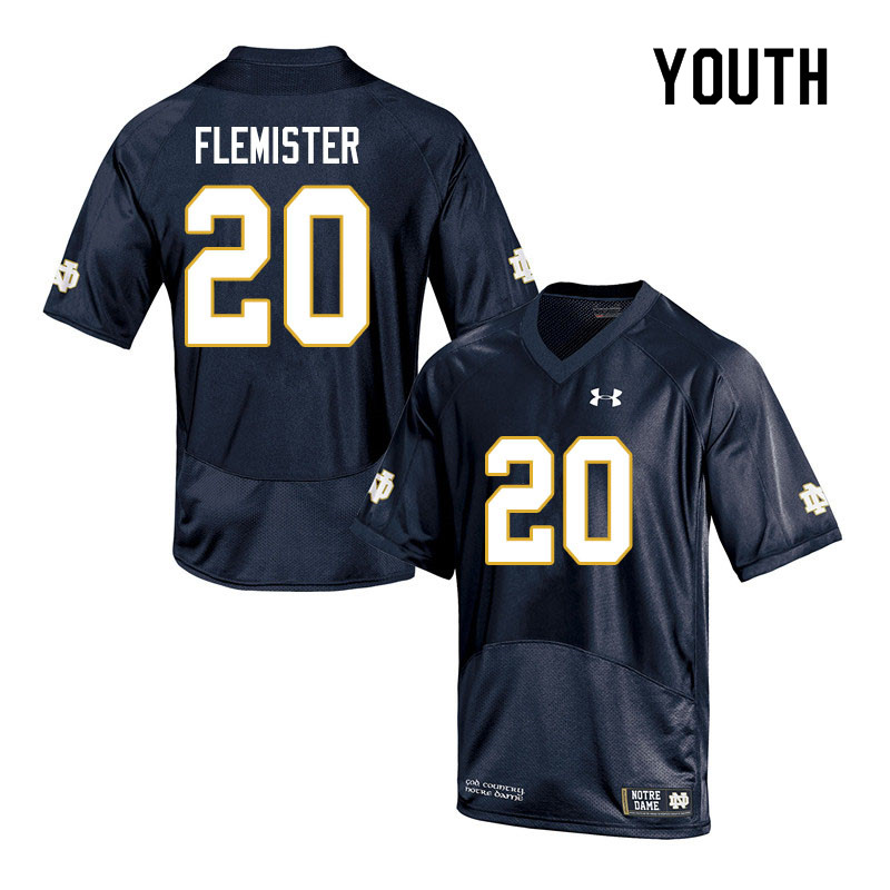 Youth #20 C'Bo Flemister Notre Dame Fighting Irish College Football Jerseys Sale-Navy