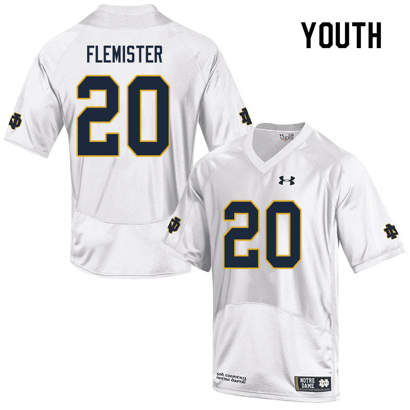 Youth #20 C'Bo Flemister Notre Dame Fighting Irish College Football Jerseys Sale-White