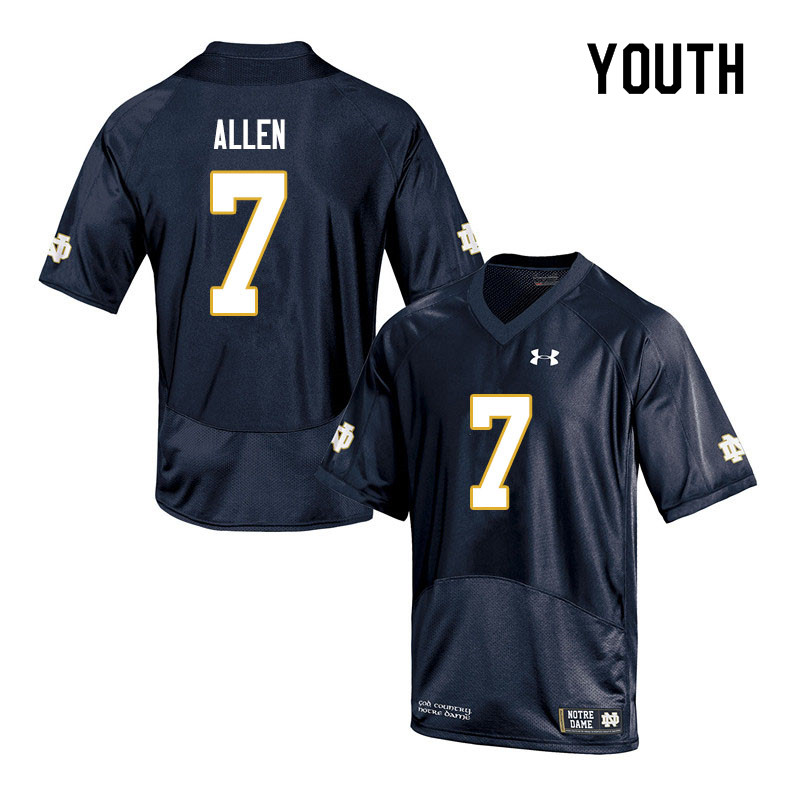 Youth #7 Derrik Allen Notre Dame Fighting Irish College Football Jerseys Sale-Navy