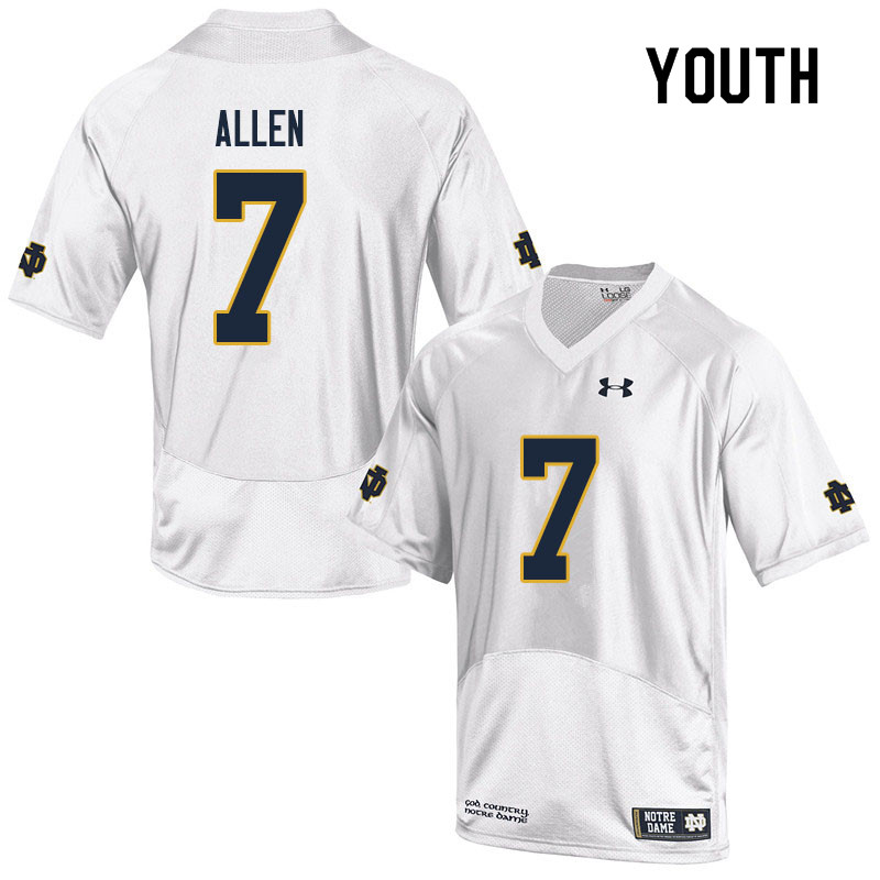 Youth #7 Derrik Allen Notre Dame Fighting Irish College Football Jerseys Sale-White