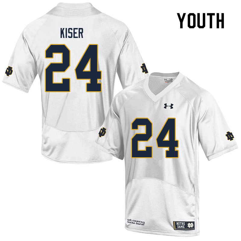 Youth #24 Jack Kiser Notre Dame Fighting Irish College Football Jerseys Sale-White