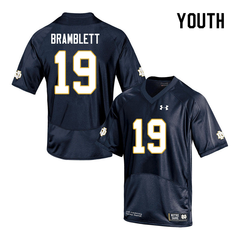 Youth #19 Jay Bramblett Notre Dame Fighting Irish College Football Jerseys Sale-Navy