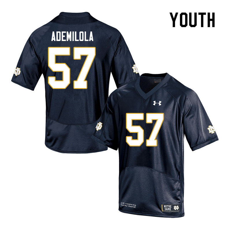 Youth #57 Jayson Ademilola Notre Dame Fighting Irish College Football Jerseys Sale-Navy