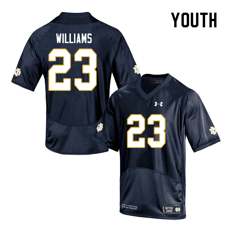 Youth #23 Kyren Williams Notre Dame Fighting Irish College Football Jerseys Sale-Navy