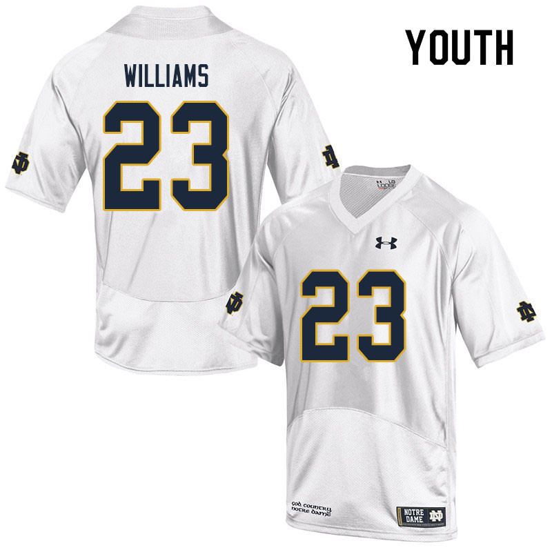 Youth #23 Kyren Williams Notre Dame Fighting Irish College Football Jerseys Sale-White