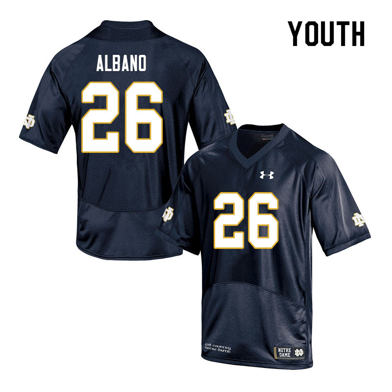 Youth #26 Leo Albano Notre Dame Fighting Irish College Football Jerseys Sale-Navy