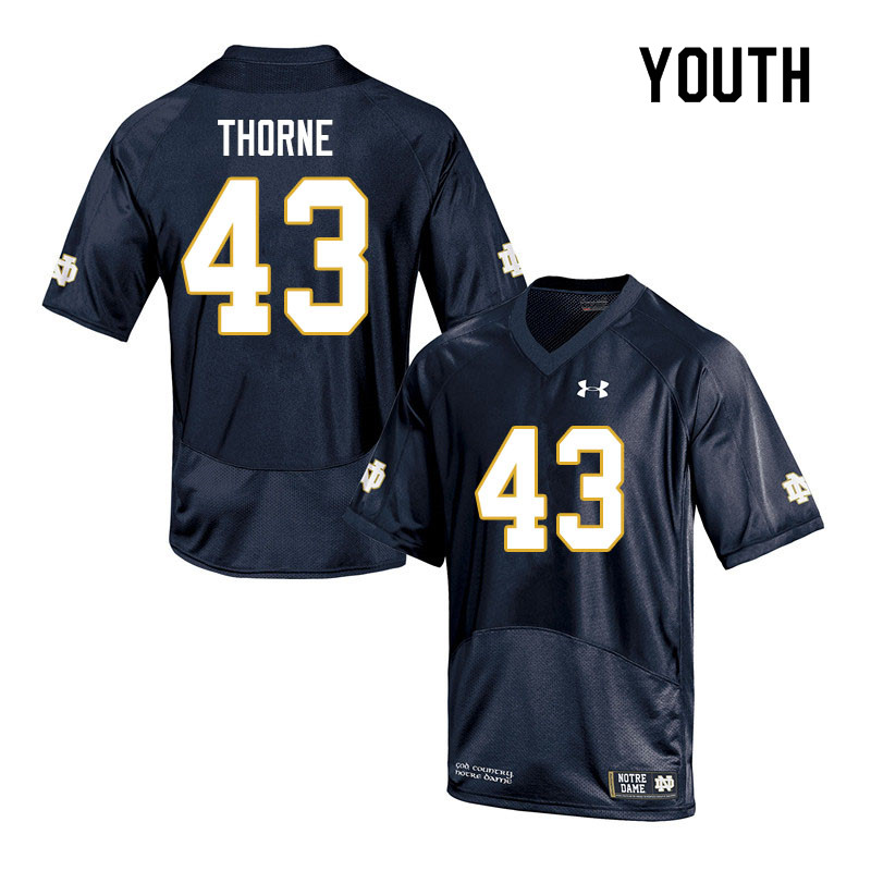 Youth #43 Marcus Thorne Notre Dame Fighting Irish College Football Jerseys Sale-Navy