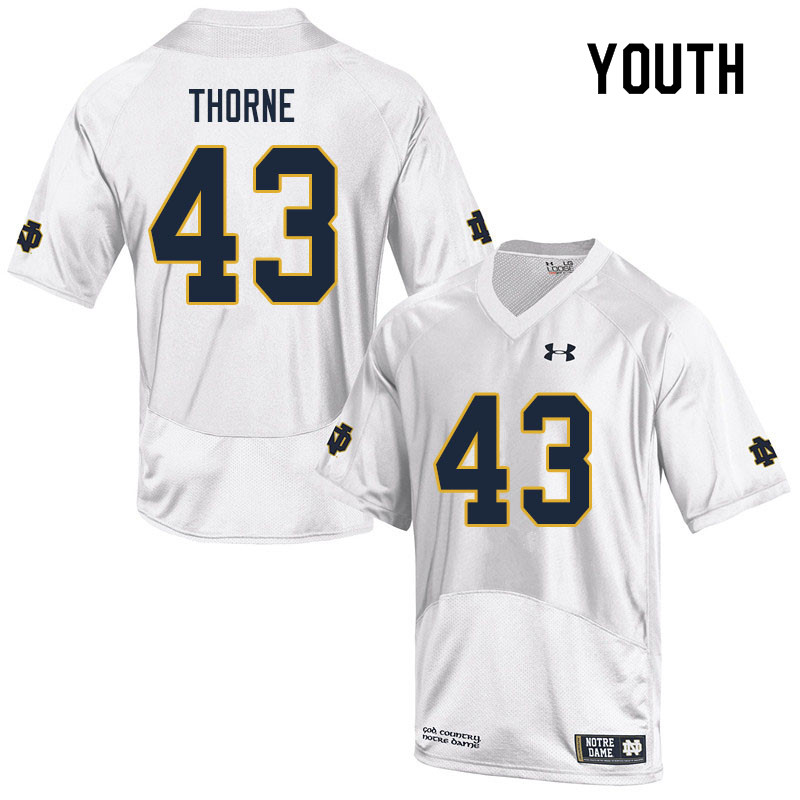 Youth #43 Marcus Thorne Notre Dame Fighting Irish College Football Jerseys Sale-White