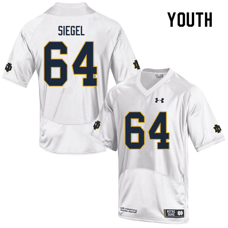Youth #64 Max Siegel Notre Dame Fighting Irish College Football Jerseys Sale-White