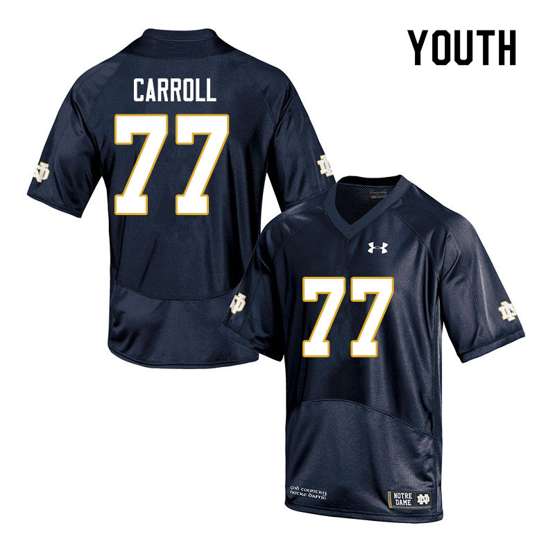 Youth #77 Quinn Carroll Notre Dame Fighting Irish College Football Jerseys Sale-Navy