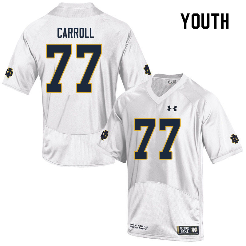 Youth #77 Quinn Carroll Notre Dame Fighting Irish College Football Jerseys Sale-White