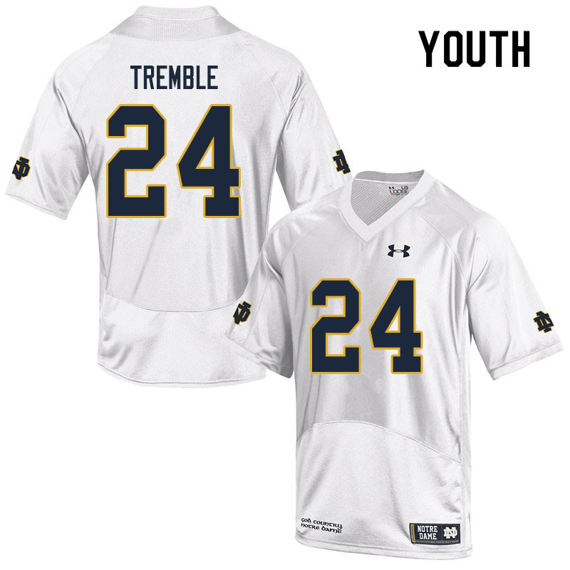 Youth #24 Tommy Tremble Notre Dame Fighting Irish College Football Jerseys Sale-White