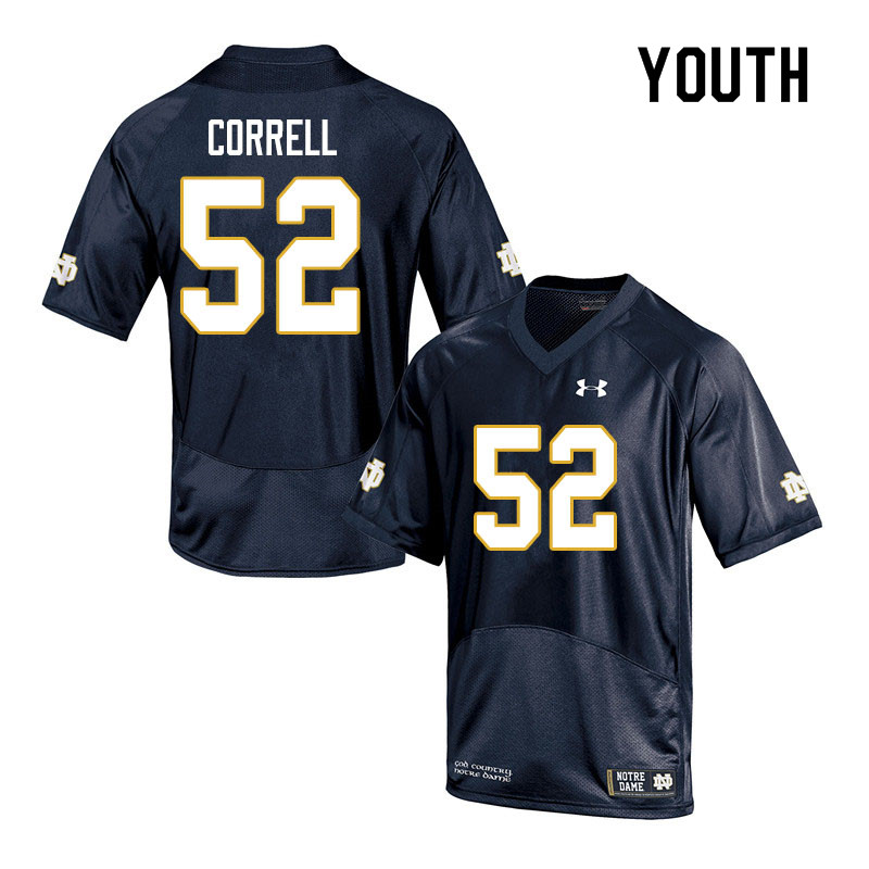 Youth #52 Zeke Correll Notre Dame Fighting Irish College Football Jerseys Sale-Navy