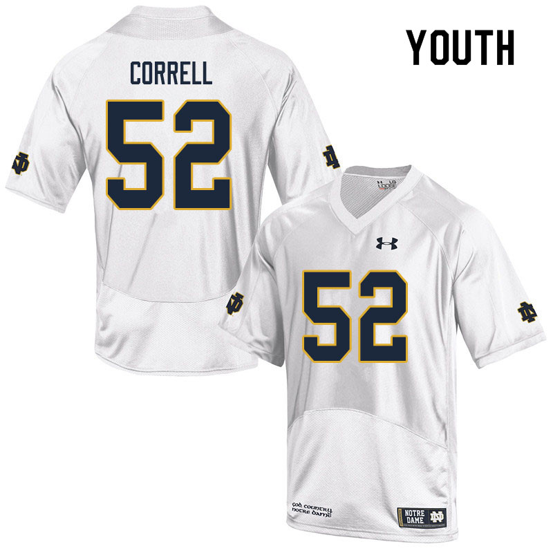 Youth #52 Zeke Correll Notre Dame Fighting Irish College Football Jerseys Sale-White