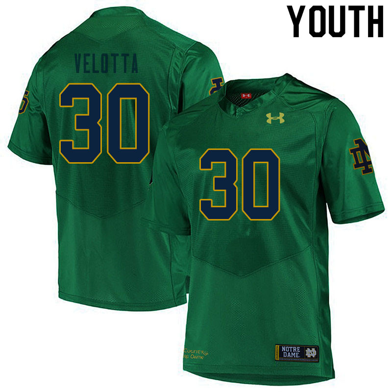 Youth #30 Chris Velotta Notre Dame Fighting Irish College Football Jerseys Sale-Green