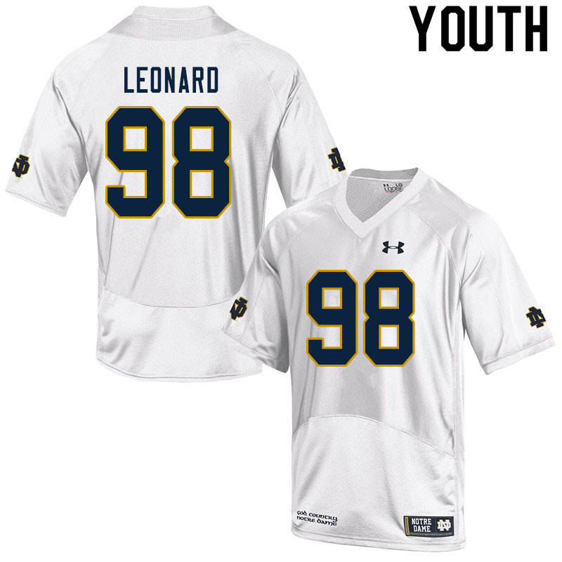 Youth #98 Harrison Leonard Notre Dame Fighting Irish College Football Jerseys Sale-White
