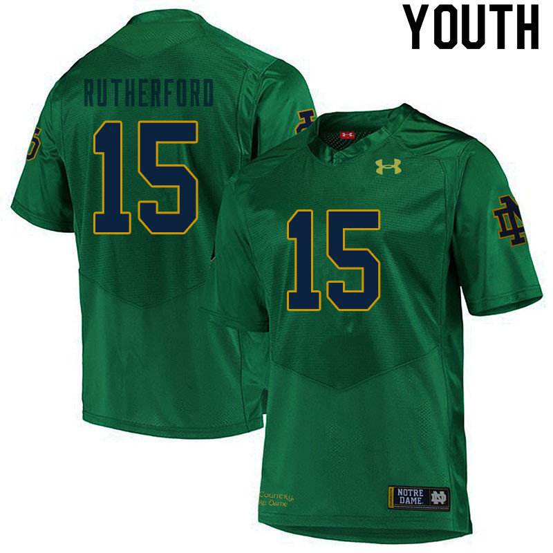 Youth #15 Isaiah Rutherford Notre Dame Fighting Irish College Football Jerseys Sale-Green