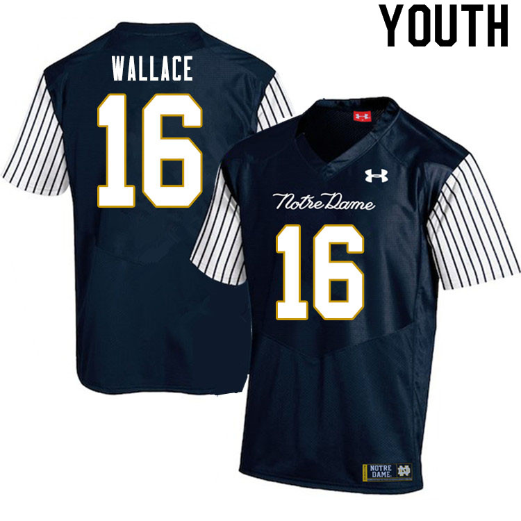 Youth #16 KJ Wallace Notre Dame Fighting Irish College Football Jerseys Sale-Alternate