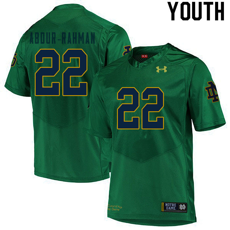 Youth #22 Kendall Abdur-Rahman Notre Dame Fighting Irish College Football Jerseys Sale-Green